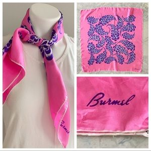 Vintage Burmel Silk Pink & Purple Feather Scarf